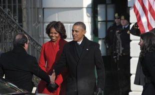 Le président français François Hollande est arrivé mardi matin à la Maison Blanche où il a été accueilli par Barack et Michelle Obama au deuxième jour d'une visite d'Etat riche en symboles et en décorum.