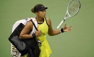 Naomi Osaka après sa défaite contre Leylah Fernandez, vendredi au 3e tour de l'US Open, à New York.