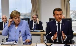 Angela Merkel et Emmanuel Macron, le 26 août dernier à Biarritz lors du G7.