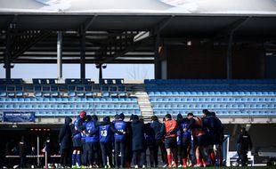 Le XV de France à l'entraînement à Marcoussis.