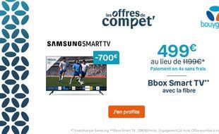 Profitez de 700 € de remise chez Bouygues Telecom sur votre Smart TV 190 cm.
