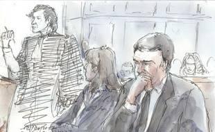 Thomas Thévenoud et son épouse Sandra lors de leur procès devant la 11e chambre du tribunal correctionnel de Paris.