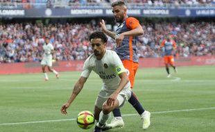 Marquinhos, ici devant Andy Delort, lors de la défaite du PSG à Montpellier (3-2), face au MHSC