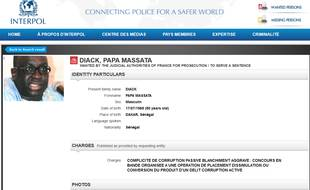 Capture d'écran de l'avis de recherche sur Papa Massata Diack