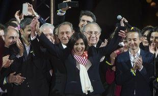 Anne Hidalgo a invité les Parisiens à un grand rassemblement sur le parvis de l'Hôtel de Ville quelques heures après les résultats de dimanche 30 mars 2014.