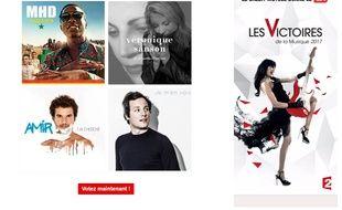 Capture d'écran de la page Web permettant de voter pour la Victoire de la chanson originale de l'année.