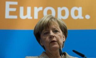 La chancelière allemande Angela Merkel lors d'une conférence de presse le 26 mai 2014 à Berlin