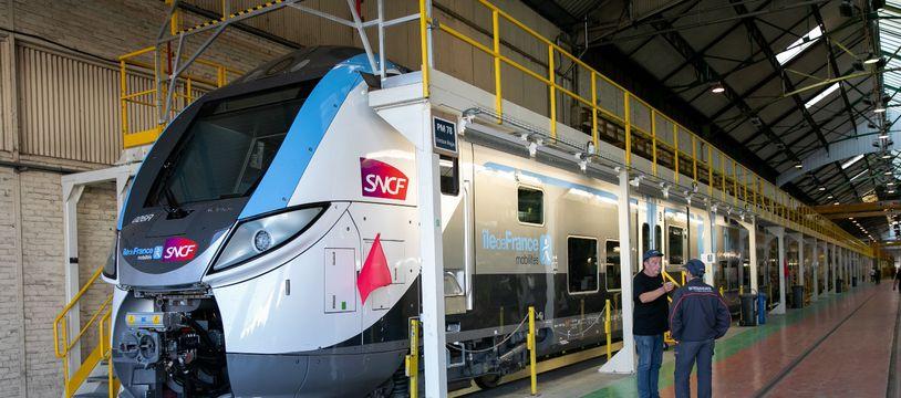 Une nouvelle rame de train Omnéo-Bombardier, censée desservir les lignes reliant Paris à la Normandie. (illustration)