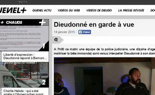 Capture d'écran du site de Dieudonné
