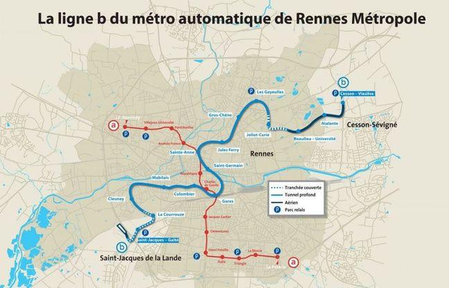 Le tracé de la ligne B du métro rennais qui entrera en service en 2020.