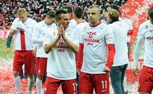 Le joueur du Stade Rennais Kamil Grosicki (à d.), après la qualification de la Pologne pour l'Euro 2016.
