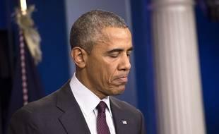 Barack Obama s'adresse à la presse après la fusillade qui a fait 10 morts dans l'Oregon, le 1er octobre 2015.