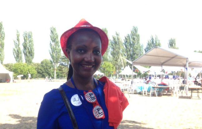 Fatou Kébé, animatrice du comité de soutien d'Alain Juppé à Saint-Ouen, au rassemblement d'Alain Juppé à Chatou (Yvelines) le 27 août 2016.