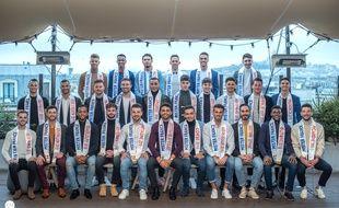Les 28 candidats à l'élection de Mister France 2020.