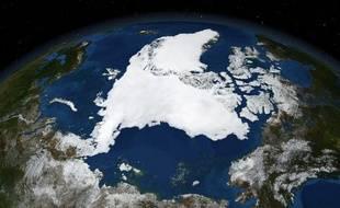 Vue satellitaire de l'Arctique