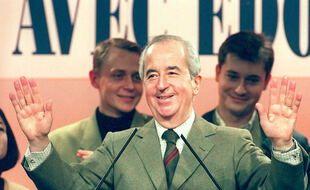 Antony, le 11 février 1995. Edouard Balladur lors d'un meeting avant l'élection présidentielle de 1995.