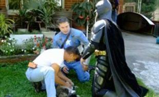 Capture d'écran d'une vidéo montrant Batman et Captain America sauvant un chat des flammes à Milton, près de Charleston, aux Etats-Unis.