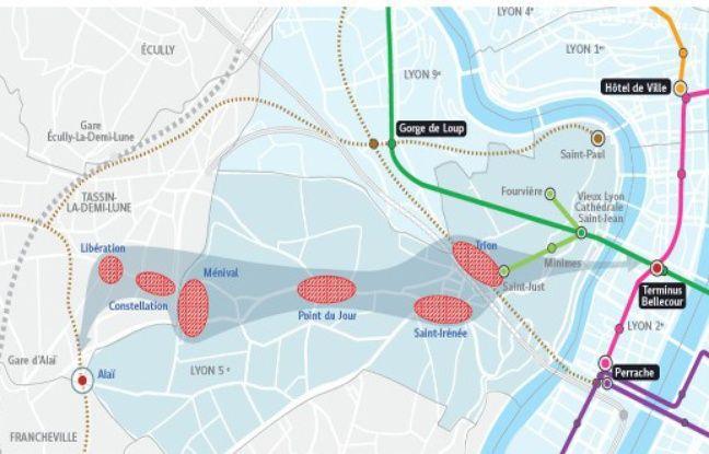 Le second tracé du futur métro E de Lyon allant de Bellecour à la gare d'Alaï.