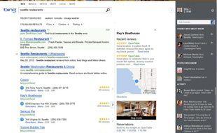 Le nouveau look du moteur de recherche de Microsoft, Bing, dévoilé le 10 mai 2012.