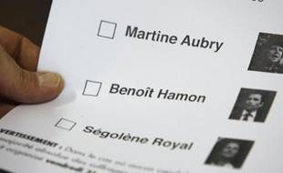 A socialist  member holds a ballot with the names of three candidates who are campaigning to  become head of France's Socialist Party, at a polling station in Melle November  20, 2008.