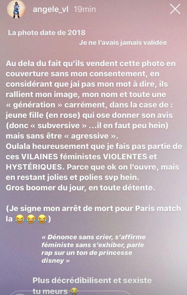 Capture d'écran d'une story Instagram de la chanteuse Angèle.