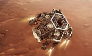 Illustration du rover Perseverance lors de sa descente sur le sol martien.