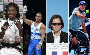 Les quatre porte-drapeaux de la délégation française pour les jeux olympiques et paralympiques de Tokyo