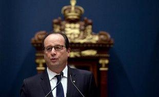 Le président français François Hollande à Québec au Canada, le 4 novembre 2014