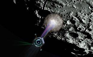 Simulation de la Nasa du bombardement d'un cratère sur la lune, le 9 octobre 2009.