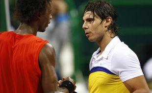 Gael Monfils bat Rafael Nadal à Doha le 8 janvier 2009.