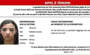 Appel à témoins lancé pour retrouver Maëva, 13 ans, disparue depuis juin dernier.