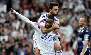 Alexandre Lacazette et Clément Grenier ont inscrit les deux buts lyonnais samedi face à l'ETG.
