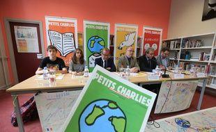 Strasbourg le 19 juin 2015. Présentation des Petits Charlies, initiatives pour le Vivre ensemble des collégiens. En présence du recteur JP Gougeon,  du maire Roland Ries et Mathieu Cahn adjoint au maire