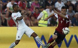 Patrice Evra lors de la défaite de l'équipe de France en Albanie (1-0), le 13 juin 2015.
