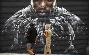 Une représentation du film « Black Panther », sur un mur de Los Angeles le 8 septembre 2020.