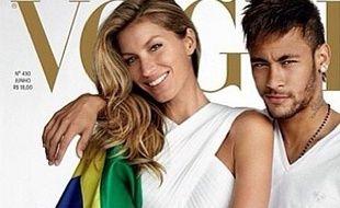 Capture d'écran de la couverture de Vogue Brésil avec Gisele Bundchen et Neymar