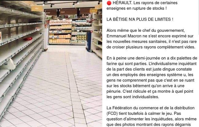 La publication sur Facebook le 28 octobre fait référence à des rayons de supermarchés vidés.