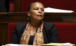 La ministre de la Justice Christiane Taubira le 7 octobre 2015 à l'Assemblée nationale à Paris