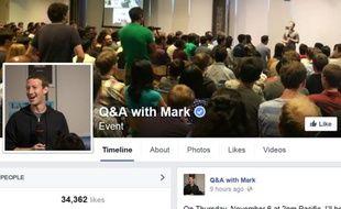 La page Facebook «Q&A with Mark», où les internautes peuvent poser leurs questions à Mark Zuckerberg.