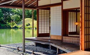 Illustration d'une maison traditionnelle japonaise.