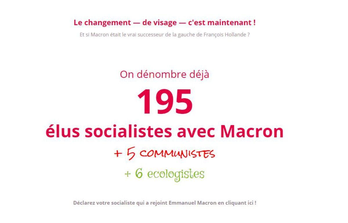 Déjà 195 élus socialistes se sont ralliés à Emmanuel Macron – Capture socialistesavecmacron.fr