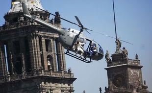 Une scène du dernier James Bond tournée à Mexico, le 30 mars 2015.