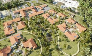 Vue aérienne du futur village Alzheimer qui sera livré en juin 2019 dans les Landes.