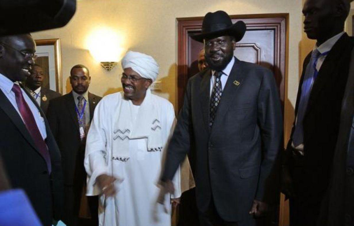 Les présidents soudanais Omar el-Béchir et sud-soudanais Salva Kiir se sont rencontrés, en tête-à-tête, samedi soir dans un hôtel d'Addis Abeba, pour la première fois depuis les combats frontaliers ayant opposé les armées des deux pays entre mars et mai. – Jenny Vaughan afp.com