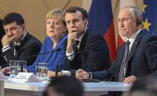 Vladimir Poutine, Emmanuel Macron, Angela Merkel et Volodymyr Zelensky à Paris, le 10 décembre 2019.