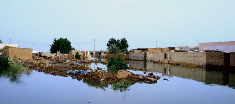 Des maisons inondées par le Nil à Khartoum, en septembre 2020 au Soudan.