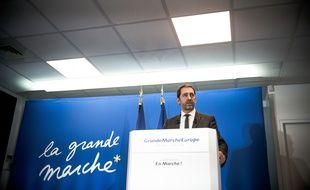 Christophe Castaner au QG de La République en marche, à Paris, le 21 mars 2018.