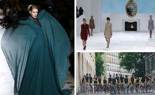 A gauche, défilé Julien Fournié, à droite, défilé Chanel, en bas, défilé Monsieur Lacenaire.