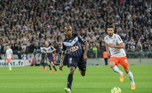 Le Girondin Diego Rolan, révélation de la saison avec 15 buts marqués en Ligue 1, lors d'un match contre Montpellier, le 25 mai 2015.