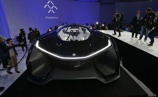 La FFZero1 de Faraday Future dévoilée le 4 janvier 2016, à Las Vegas. AP Photo/Gregory Bull.